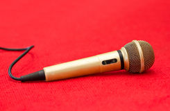 Golden Microphone. Royalty Free Stock Photo
