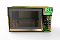Golden microwave oven. Isolated on white background Royalty Free Stock Photo