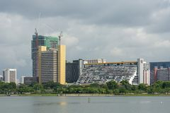 Singapore - June 18, 2018: View over the water showing Golden mile stock image