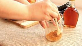 Golden Milk drink preparation set stock video footage