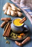 Golden milk with turmeric stock image