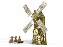 Golden mill  doing gold money and different currency - Dollar, Euro, Yen Stock Images