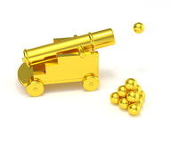 Golden miniature cannon cannonball. Isolated gold mini cannon ball pyramid. Treasure hunting, trade war, economic competition, adult toy Royalty Free Stock Image