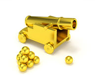 Golden miniature cannon cannonball Royalty Free Stock Photo