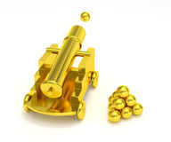 Golden miniature cannon cannonball Royalty Free Stock Images