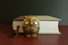 Golden figure of an owl in front of a book. stock photography