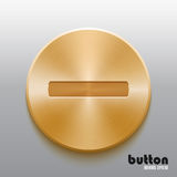 Golden minus button. Round minus button with brushed golden metal texture isolated on gray background Royalty Free Stock Photo