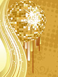 Golden mirror ball. Illustartion of a mirror ball on an abstract golden background Royalty Free Stock Photo