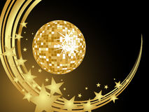 Golden mirror ball. Illustration of a mirror ball on an abstract golden background Stock Images