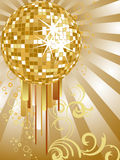 Golden mirror ball. Illustration of a mirror ball on an abstract golden background Royalty Free Stock Photos