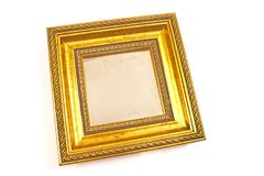 Golden mirror with baroque frame isolated on white Royalty Free Stock Image