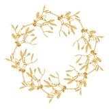 Golden Mistletoe Garland. Isolated over white background Royalty Free Stock Images
