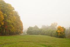 Golden misty autumn in Ivan Turgenev's estate Spasskoe-Lutovinov. O, Mcenck, Russia Royalty Free Stock Images