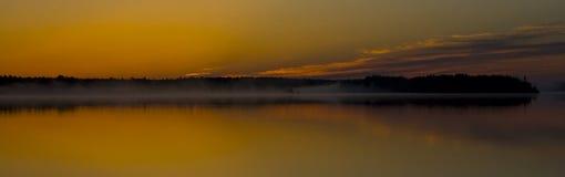 Golden Misty Minnesota Sunrise Stock Photo