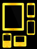 Golden Mobile Devices Royalty Free Stock Photography