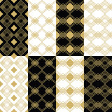 Golden modern art deco patterns on black and white backgrounds set. Golden modern art deco square patterns on black and white backgrounds set Stock Image