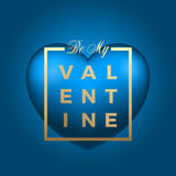 Golden Modern Typography Valentines Day Greetings in a Frame with Light Blue Heart Vector on Gradient Background. Classy Royalty Free Stock Photos