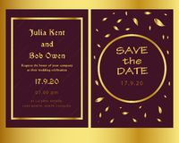 Golden and modern wedding invitation template royalty free illustration