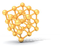 Golden molecule. Cube from golden balls on a white surface Royalty Free Stock Photography