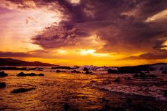 Golden moment. Sunset with dramatic sky Royalty Free Stock Photo