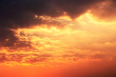 The Golden Moment of Sunset Sky and Clouds. Stock Photography