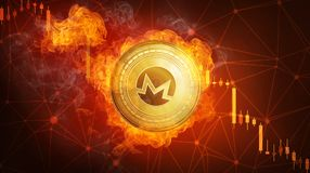 Golden Monero coin falling in fire flame. Golden Monero coin in fire flame is falling. Burning crypto currency Monero falling down, blockchain cryptocurrency Royalty Free Stock Images