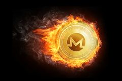 Golden Monero coin flying in fire flame. Blockchain token grows in price on stock market concept. Burning crypto currency Monero symbol illustration isolated Stock Images