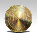 Golden monero coin isolated on white background 3d rendering. Illustration Royalty Free Stock Image
