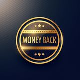 Golden money back guarantee label design Stock Photos