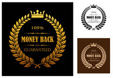 Golden Money back guarantee labels. Laurel wreath enclosing 100 percent money back guaranteed labels with crown overhead in different colors suitable for various Royalty Free Stock Photography