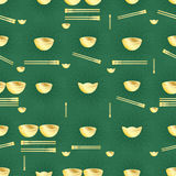 Golden money bowl chopstick seamless pattern. This illustration is design stylish Asian rich gold items, such as money, bowl and chopstick in green color royalty free illustration