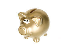 Golden money box pig for savings Royalty Free Stock Photos