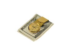 Golden money clip with dollars isolated on white Stock Photo