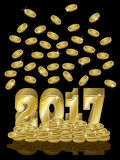 Golden money coins New 2017 Year banner, vector. Illustration Royalty Free Stock Image