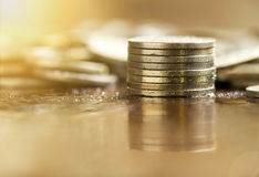 Golden money coins Stock Photo
