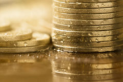 Golden money coins Stock Images