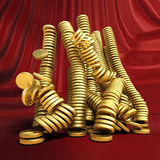 Golden money falling. Conceptual business illustration. Golden money falling. Conceptual business 3d illustration Royalty Free Stock Images