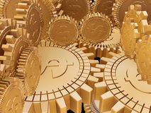 Golden money gears. 3d golden cogwheels with dollar sign Royalty Free Stock Photography