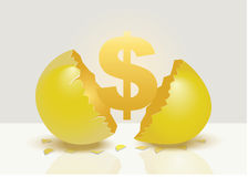 Golden Money Sign From Golden Egg Metaphor Vector Illustration Stock Photography