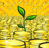 Golden money stacks with green sprout of wealth tree, gold coins, retro  illustration of the shining wealth, pop art treasur. E image Royalty Free Stock Photography