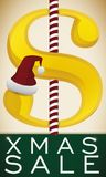 Money Symbol with Santa`s Hat and Candy Canes for Christmas, Vector Illustration vector illustration
