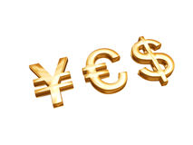 Golden money symbols Stock Photos