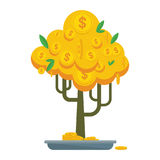 Golden money tree bonsay. Money tree with gold coins and paper dollars. Symbol of success, wealth and power. Finance and banks, savings and investments. Flat Royalty Free Stock Photos