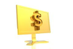 Golden monitor and dollar sign Royalty Free Stock Photos