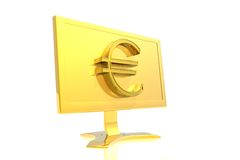 Golden monitor and euro sign Royalty Free Stock Image