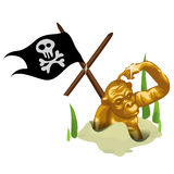 Golden monkey in sand and mast with pirate flag Royalty Free Stock Images