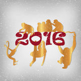 Golden monkeys silhouette. New year vector set Royalty Free Stock Image