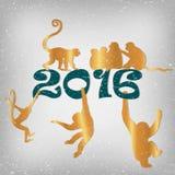 Golden monkeys silhouette. New year vector set Stock Image