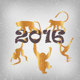 Golden monkeys silhouette. New year vector set Stock Images