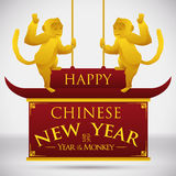 Golden Monkeys on Traditional Chinese Roof and New Year Greeting Message, Vector Illustration Royalty Free Stock Photos